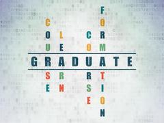 Stock Illustration of Education concept: Graduate in Crossword Puzzle