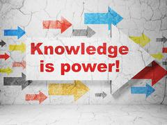 Education concept: arrow with Knowledge Is power! on grunge wall background - stock illustration