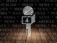 News concept: Microphone in grunge dark room - stock illustration