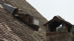 Roof with an old chimneyin Sighisoara Stock Footage