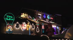 Christmas house illumination street view - stock footage