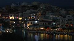 Evening view of Agios Nikolaos city  Stock Footage