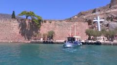Spinalonga Venetian Fortress Crete Stock Footage