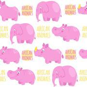 African animals pink vector seamless pattern: elephant, rhino, h Stock Illustration