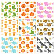 African animals set vector seamless pattern Piirros