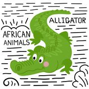 Alligator with lettering on a white background isolated. Stock Illustration