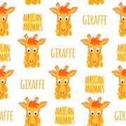 Stock Illustration of Giraffe orange with lettering vector seamless pattern