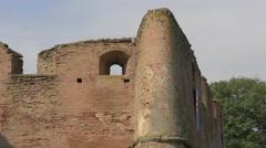 Medieval brick walls at Fagaras fortress - stock footage