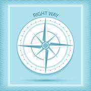 Wind rose symbol. Compass - Right way concept - stock illustration