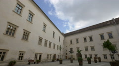 The corner of a building seen in the inner courtyard of fFagaras fortress Stock Footage