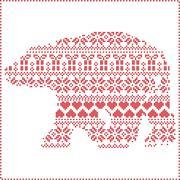 Winter pattern polar bear shape Stock Illustration