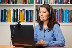 Woman office video online call Stock Photos