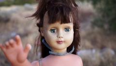 Doll Horror Hanging Extreme Close Stock Footage