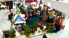 Children and parents wait in line for taking picture with Santa Claus. - stock footage