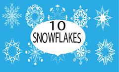 Ten white snowflakes - stock illustration