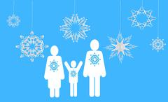 Stock Illustration of winter family. Web icons