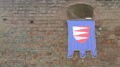 Flag on one of the exterior walls of Fagaras fortress Stock Footage