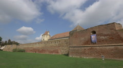Outside view of Fagaras fortress Stock Footage