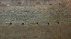 Pan view of the brick walls of Fagaras fortress - stock footage