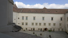 Pan view of the inner courtyard of Fagaras fortress Stock Footage