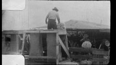 Men Sheep Farm Shearing Wool 1960s Vintage Film Home Movie 8789a Stock Footage