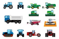 Agricultural machinery set - stock illustration
