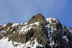 Landscape with mountain peak in the Carpathians, ROMANIA Stock Photos