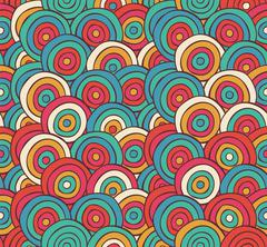 Abstract Sketched Colorful Circles Background Pattern Stock Illustration