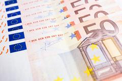 Money euro coins and banknotes background Stock Photos