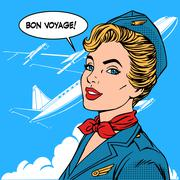 Bon voyage stewardess airplane travel tourism - stock illustration