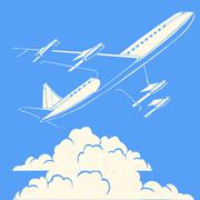 Passenger airplane in the clouds retro background Stock Illustration