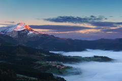 Stock Photo of sunrise in Aramaio valley with Anboto mountain