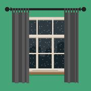 Stock Illustration of Window with view of the winter landscape.