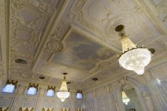 Nizhny Novgorod, Russia - 03.11.2015.The ceiling of  Ballroom in  museum estate - stock photo