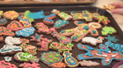 Gingerbread cookies. Christmas decoration. Stock Footage