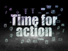 Time concept: Time for Action in grunge dark room - stock illustration