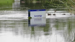 Sign Submerged by Floodwater - stock footage