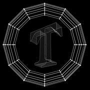Stock Illustration of Vector illustration of letter . Fonts of Mesh polygonal. Wire frame contour