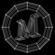 Vector illustration of letter . Fonts of Mesh polygonal. Wire frame contour - stock illustration