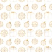 abstract background Christmas snowflakes, Christmas decoration and gift box - stock illustration