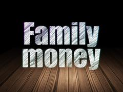 Money concept: Family Money in grunge dark room Stock Illustration