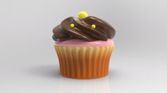 Stock Video Footage of 3D Cupcake