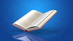 Book blue background Stock Footage