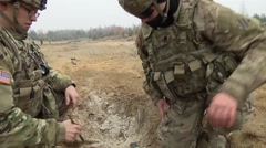 Lithuania Rukla, November 2015, US Lithuania Soldier Discuss C4 Area Stock Footage