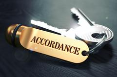 Keys with Word Accordance on Golden Label Stock Illustration
