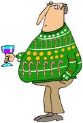 Man wearing an ugly Christmas sweater Stock Illustration