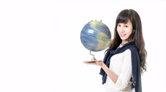 Asian woman holding spinning globe looking at cinemagraph 616 - stock footage