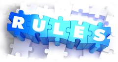 Rules - White Word on Blue Puzzles Stock Illustration