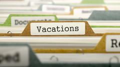 Vacations on Business Folder in Catalog - stock illustration