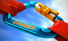 Blue Carabiner with Text Danger Stock Illustration
